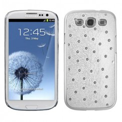 Samsung Galaxy S3 White Silver Plating Peacock Feather Executive Back Case