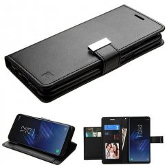 Samsung Galaxy S8 Plus Black/Black PU Leather Wallet with extra card slots