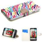 LG Optimus L70 Colorful Zebra Wallet with Diamante Belt