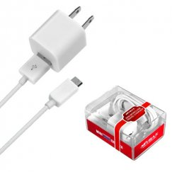MICRO USB White Travel Charger with USB Port (2-in-1)