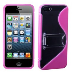 Apple iPhone 5c Transparent Clear/Solid Hot Pink (S Shape With Stand) Gummy Cover