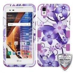 LG X Style / Tribute HD Purple Hibiscus Flower Romance/Electric Purple Hybrid Case