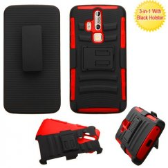 ZTE Axon Pro Black/Red Advanced Armor Stand Case with Black Holster