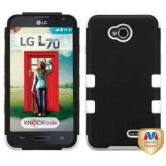 LG Optimus L70 Rubberized Black/Solid White Hybrid Case