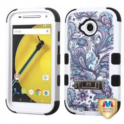 Motorola Moto E 2nd Gen Purple European Flowers/Black Hybrid Case with Stand