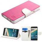 LG Nexus 5X Hot Pink Pattern/White Liner wallet (with card slot)