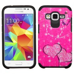 Samsung Galaxy Core Prime Glittering Butterfly/Heart Hot Pink/Black Advanced Armor Case