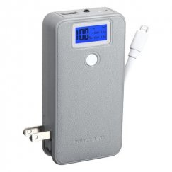 Gray Power Bank with LCD Display (White Button & White Micro USB to USB Cable) (5600 mAh)