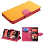 HTC Desire 626 Yellow Pattern/Hot Pink Liner wallet with Card Slot