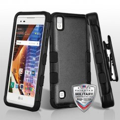 LG X Style / Tribute HD Natural Black/Black Hybrid Case - Military Grade with Black Horizontal Holster