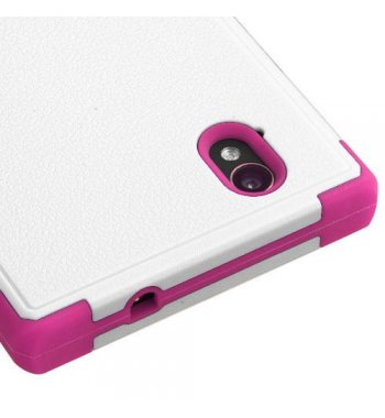 ZTE Warp Elite Natural Cream White/Hot Pink Hybrid Case