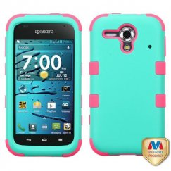 Kyocera Hydro Edge Rubberized Teal Green/Electric Pink Hybrid Case