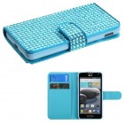 LG Optimus F6 Light Blue Diamonds Book-Style Wallet with Card Slot