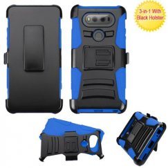 LG V20 Black/Blue Advanced Armor Stand Case with Black Holster