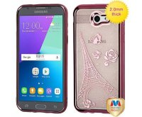 Samsung Galaxy J3 Rose Gold Electroplating/Eiffel Tower Sheer Glitter Premium Candy Skin Cover