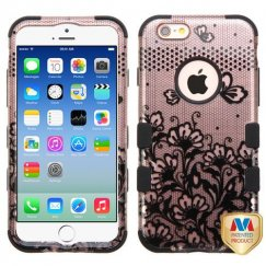 Apple iPhone 6/6s Black Lace Flowers 2D Rose Gold/Black Hybrid Case