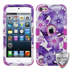 Apple iPod Touch (6th Generation) Purple Hibiscus Flower Romance/Electric Purple Hybrid Case