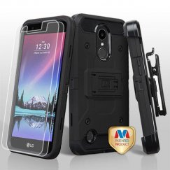 LG K10 Black/Black 3-in-1 Kinetic Hybrid Case Combo with Black Holster and Tempered Glass Screen Protector