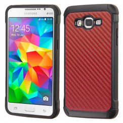 Samsung Galaxy Grand Prime Red Carbon-Fiber Backing/Black Astronoot Case