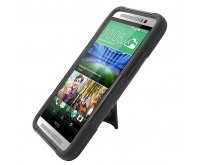 HTC One E8 Hybrid With Y Stand Protective Case- Black/ Black