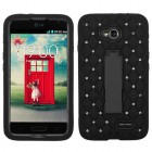 LG Optimus L70 Black/Black Symbiosis Stand Case with Diamonds