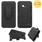 Nokia Lumia 640 Black/Black Advanced Armor Stand Protector Cover (With Black Holster)