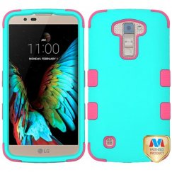 LG K10 Rubberized Teal Green/Electric Pink Hybrid Case