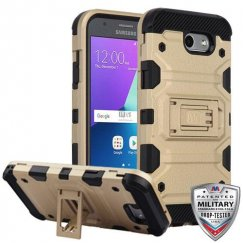 Samsung Galaxy J3 Gold/Black Storm Tank Hybrid Case Military Grade