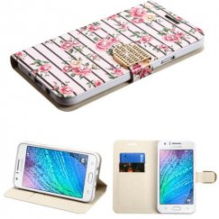 Samsung Galaxy J7 Pink Fresh Roses Diamante Wallet with Diamante Belt