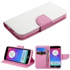 LG Leon H345 White Pattern/Pink Liner wallet with Card Slot