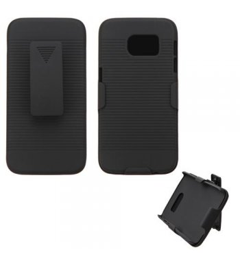 Samsung Galaxy S7 Rubberized Black Hybrid Holster