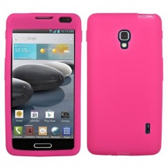 LG Optimus F6 Solid Skin Cover - Hot Pink