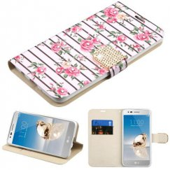 LG K8 / Phoenix 3 Pink Fresh Roses Diamante Wallet with Diamante Belt