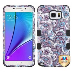 Samsung Galaxy Note 5 Purple European Flowers/Black Hybrid Case