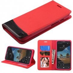 Alcatel One Touch Fierce XL Red/Black wallet with Card Slot