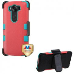LG V10 Natural Baby Red/Tropical Teal Hybrid Case with Black Horizontal Holster