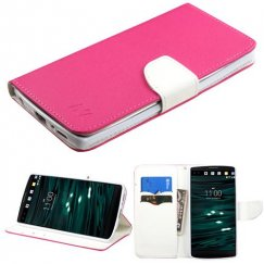 LG V10 Hot Pink Pattern/White Liner wallet with Card Slot