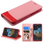 Alcatel One Touch Fierce XL Pink/Red wallet with Card Slot