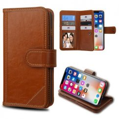 Apple iPhone X Brown Genuine Leather Wallet (with Button Closure)(PR012) -WP