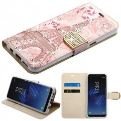 Samsung Galaxy S8 Eiffel Tower Diamante Wallet with Diamante Belt
