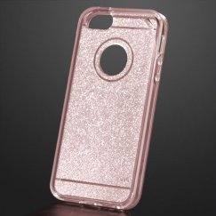 Apple iPhone 5 Transparent Rose Gold Sheer Glitter Premium Candy Skin Cover