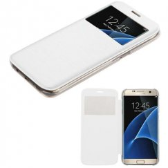 Samsung Galaxy S7 Edge White Silk Texture Wallet with Transparent Frosted Tray