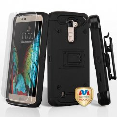LG K10 Black/Black 3-in-1 Case Combo with Black Holster with Twin Screen Protectors