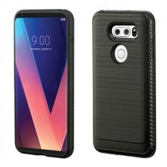 LG V30 Black/Black Brushed Hybrid Case with Carbon Fiber Accent