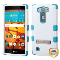 LG LS751 Volt 2 Natural Ivory White/Tropical Teal Hybrid Case with Stand