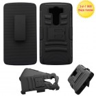 LG V10 Black/Black Advanced Armor Stand Protector Cover (With Black Holster)