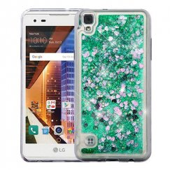 LG X Style / Tribute HD Hearts & Green Quicksand Glitter Hybrid Case