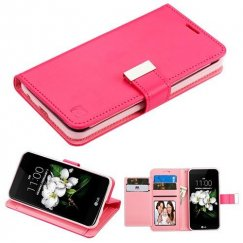 LG K8 Hot Pink/Pink PU Leather Wallet with extra card slots
