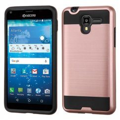 Kyocera Hydro Reach / Hydro View Rose Gold/Black Brushed Hybrid Case
