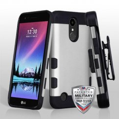 LG K10 Rubberized Space Silver/Black Hybrid Case Military Grade with Black Horizontal Holster
